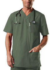 Olive Green Cherokee Workwear Tall Unisex  V Neck Scrub Top 4701 OLVW