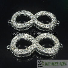 10Pcs Side Ways Crystal Rhinestones Infinity Bracelet Connector Charm Beads Pick