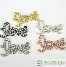 10Pcs Curved Side Ways Crystal Rhinestones Love Bracelet Connector Charm Beads