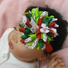 Cute CHRISTMAS RED WHITE & GRINCH GREEN DOTS HAIR BOW HEADBAND CLIP CHRISTMAS