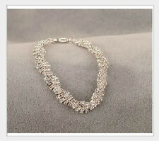 EXQUISITE STRETCHY FASHION JEWELRY CLEAR ELEGANT WHITE CRYSTAL CHARM BRACELET