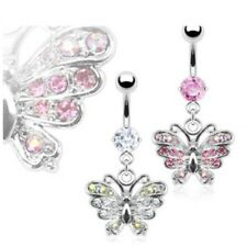 GEM PAVED BUTTERFLY BELLY NAVEL RING GEM CZ DANGLE BUTTON PIERCING JEWELRY B385