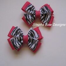 SHOCK PINK & ZEBRA BLACK WHITE LAYERED PIGTAIL HAIR BOW SET so Cute On Baby L@@K