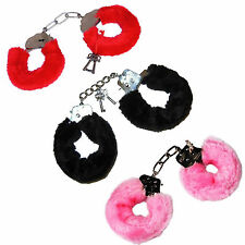 NEW Red/ Black Furry Metal Handcuffs Fancy Dress Hen Love Sex. Stag/ Nights in!