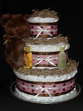 Pink & Brown Teddy Bear Theme Diapercake with Shining Star Plush Bear
