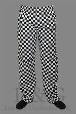 Black&White chef trousers Sides pockets+back pocket+elst.waist pull cord L&G
