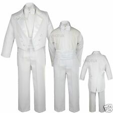 Baby Boys Teens Baptism Communion Wedding Formal Bow tie Tuxedo Suit S- 20 WHITE