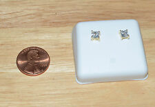Square CZ Stud Earrings Screw backs Cubic Zirconia Yellow 925 Silver