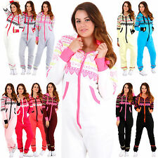 Womens LOVE HEART ONESIE All In One Playsuit Jumpsuit Hood Cosy New Ladies S-XL