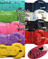 """Elastic 3"""" Wide Patent Cinch Belt with Rounded Buckle Rockabilly Pin Up Vixen"""
