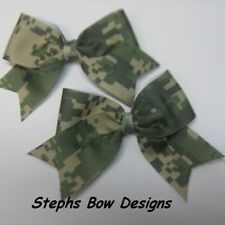 ARMY DIGITAL CAMO CUTE CHEER BOWS PIGTAIL HAIR BOW SET  LOT 2 CAMOFLAUGE ARMY