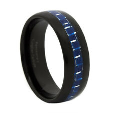 Thin Blue Line Black & Blue Tungsten Carbide Ring 8MM Dome Blue Fiber Inlay