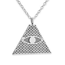 925 Sterling Silver Illuminati Eye of Providence Pyramid Necklace (Belcho # 364)