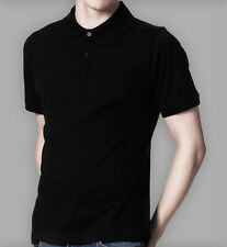 DANYEYI® Mens Plain Slim Fit Fitted Polo T-Shirt Tee - Black Or White - S-XL