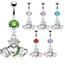 CLADDAGH CROWN HEART NAVEL BELLY RING GEM CZ DANGLE BUTTON PIERCING JEWELRY