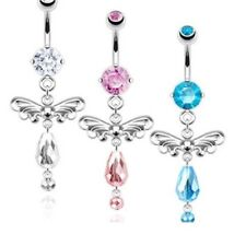 ANGEL WINGS GEM BEADS DANGLE BELLY NAVEL RING ELEGANT BUTTON PIERCING JEWELRY