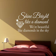 RHIANNA LYRICS DIAMOND QUOTE - Vinyl Wall Art Sticker Decal, Bedroom
