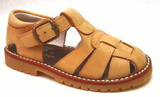 DE OSU Spain - Tan/Camel Nubuck Leather Fisherman Sandals -Euro 19-33 Sz4.5-2