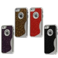 NEW - S Shape Hexagon Electroplate Hard Case with Logo Cutout for iPhone 5