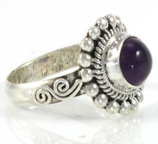 CABOCHON AMETHYST FILIGREE RING JEWELRY GENUINE 925 STERLING SILVER ARTISAN NEW