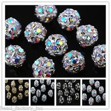 30pcs 6/8/10/12mm Hollow  Rhinestone Ball Finding Charm Spacer Beads Multicolor