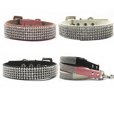 New Leather 5 Rows Rhinestone Bling Pet Dog Collar With Gems Leather S M L