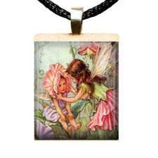 Winged Fairy Sisters Scrabble Tile Pendant for Necklace Flower Fairy Charm 03