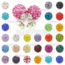 Disco Ball/Beads Crystal Rhinestones Shamballa Ear stud Earrings Colourful Iron