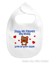 Personalised 1st First Happy Fathers Day Daddy Baby Bib Boy Girl Pink Blue Gift