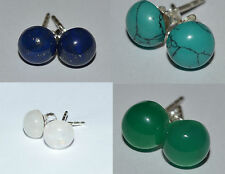 925 Sterling Silver 7mm Earrings: Moonstone, Turquoise, Lapis Lazuli, Green onyx