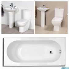 Bathroom Suite Single Ended 1500 Bath Toilet WC Basin Wash Sink Close Coupled
