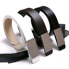 Mens White Black Brown Waistband Faux Leather Flat Alloy Buckle Waist Belt Strap