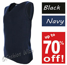 Boys School Jumper Pullover V Neck Uniform Sleeveless Black Navy Sweatshirt