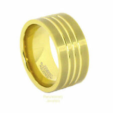18K Gold IP Tungsten Carbide 12MM Pipe Cut Brushed Ring w Channels Comfort Fit
