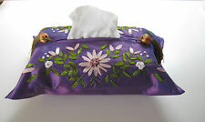 NEW FLORAL TISSUE BOX COVER -RIBBON EMBROIDERED CHINESE FAUX SILK -RED/WINE/PINK