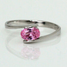 Birthstone Mother's Ring Sterling Stackable Pink Zircon October Gemstone .925