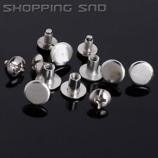 LOT Silver Round Flat Spikes Metal Studs Rivets Screwback Spots Cone Leather DIY