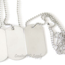 10 BLANK STAINLESS STEEL DOG TAGS SHINY/MATTE MILITARY SPEC BALL CHAIN NECKLACES