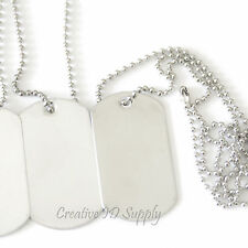 LOT OF 1 PCS BLANK STAINLESS STEEL DOG TAG MILITARY SPEC BALL CHAIN NECKLACE