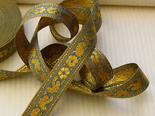 Ribbon Tape Trim 21mm Blue or Grey with Gold detail for cakes packages scrapbook