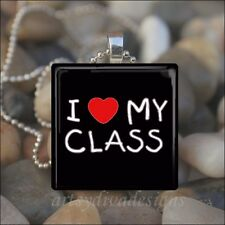 """I LOVE MY CLASS"" TEACHER APPRECIATION SCHOOL GLASS PENDANT NECKLACE KEYRING"