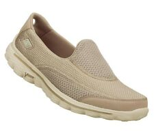 13590 Stone Skechers Shoe Gowalk Go Walk 2 Women Sport Slip On Light Soft Loafer