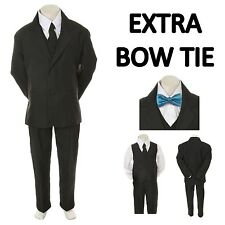 Kid Child Boy Black FORMAL Wedding Party Tuxedo Suit+ Turquoise Bow Tie sz 5-14