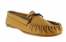 Mens Tan Leather Hand Made Casual Moccs Moccasins Slippers Shoes Sizes 6 to 13