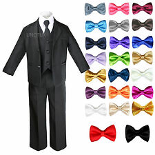 Kids Teens Boys Black Formal Wedding Party Suits Tuxedo + Color Bow Tie sz 4T-20