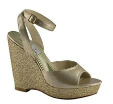 """Metallic Gold Glitter 4"""" Wedges Wrap Around Ankle High Heels Sexy Evening Shoes"""