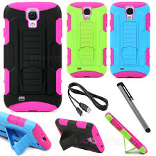 Multi Color Hybrid Rugged Impact Samsung Galaxy S4 Stand Case + Stylus & Cable