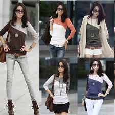 Women Ladies Casual Long Sleeve T-shirt Mixed Color Splice Crew Neck Top T Shirt