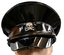 SDL SteamPunk military PVC look hat with metal skull