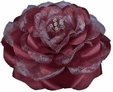 BURGUNDY Rose Corsage Brooch Hair Flower Clip Satin Organza Swarovski Crystals